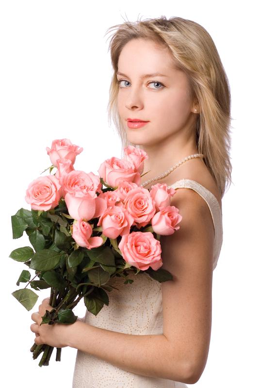 Открытки девушка с цветком 52