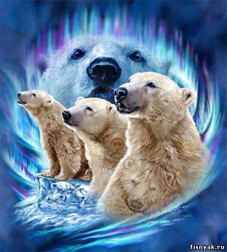 10 полярных медведей.